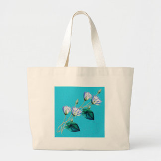 Water Lily On Blue Large Tote Bag