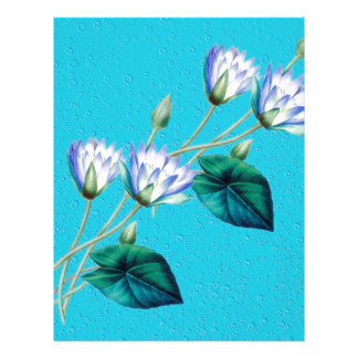 Water Lily On Blue Personalized Letterhead