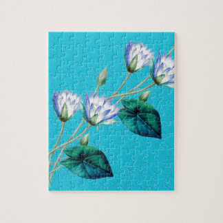 Water Lily On Blue Puzzle
