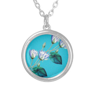 Water Lily On Blue Silver Plated Necklace
