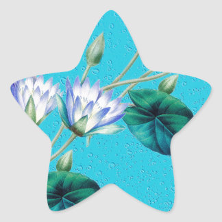 Water Lily On Blue Star Sticker