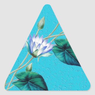 Water Lily On Blue Triangle Sticker