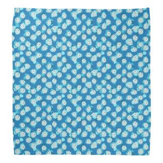 Water Lily pattern, turquoise, blue and white Bandana