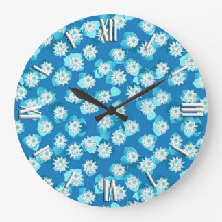 Water Lily pattern, turquoise, blue and white Wallclocks