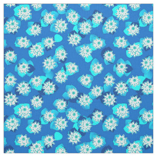 Water Lily pattern, turquoise, blue and white Fabric