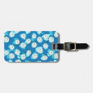 Water Lily pattern, turquoise, blue and white Bag Tags