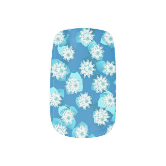 Water Lily pattern, turquoise, blue and white Fingernail Decal