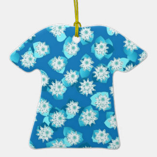 Water Lily pattern, turquoise, blue and white Double-Sided T-Shirt Ceramic Christmas Ornament