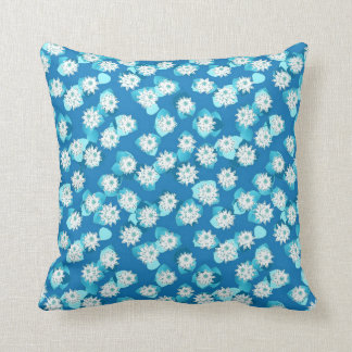 Water Lily pattern, turquoise, blue and white Throw Pillow
