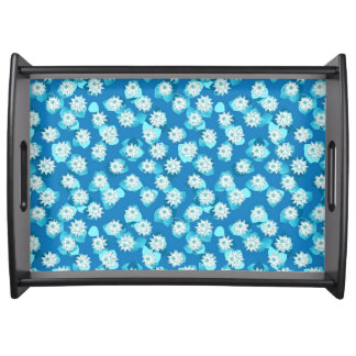 Water Lily pattern, turquoise, blue and white Serving Platter