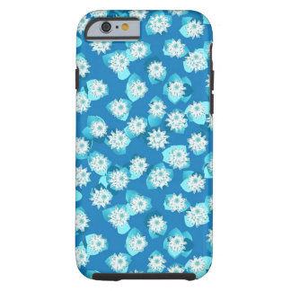 Water Lily pattern, turquoise, blue and white Tough iPhone 6 Case