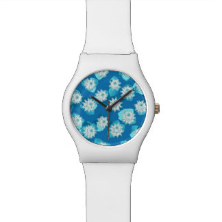 Water Lily pattern, turquoise, blue and white Wristwatch