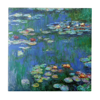 Water Lily Pond in Blue Impressionism Ceramic Tiles