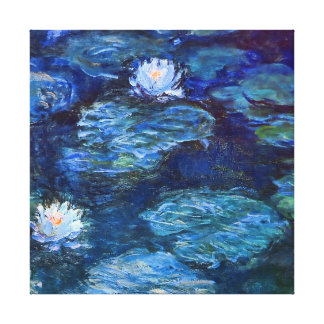 Water Lily Pond in Blue Monet Fine Art Canvas Print