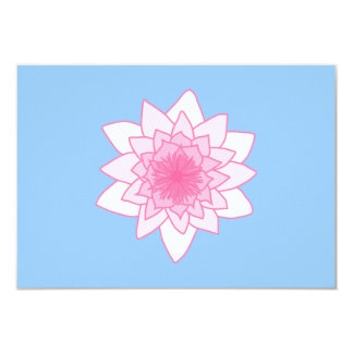 """Water Lily. Pretty Pink and Pale Blue. 3.5"""" X 5"""" Invitation Card"""