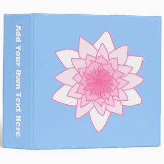 Water Lily. Pretty Pink and Pale Blue. 3 Ring Binders