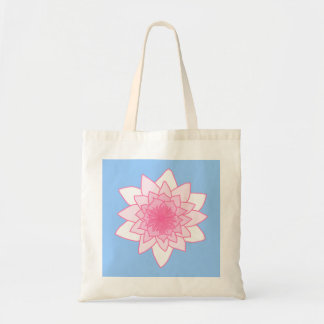 Water Lily. Pretty Pink and Pale Blue. Tote Bag