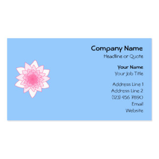 Water Lily. Pretty Pink and Pale Blue. Pack Of Standard Business Cards