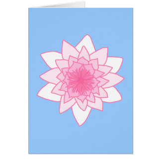 Water Lily. Pretty Pink and Pale Blue. Card