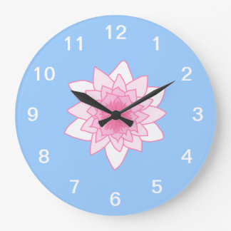 Water Lily. Pretty Pink and Pale Blue. Wall Clock
