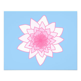 Water Lily. Pretty Pink and Pale Blue. Personalized Flyer