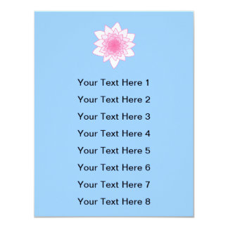 "Water Lily. Pretty Pink and Pale Blue. 4.25"" X 5.5"" Invitation Card"