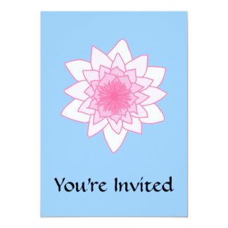 "Water Lily. Pretty Pink and Pale Blue. 5"" X 7"" Invitation Card"