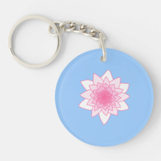 Water Lily. Pretty Pink and Pale Blue. Acrylic Keychains