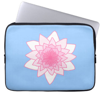 Water Lily. Pretty Pink and Pale Blue. Laptop Computer Sleeve