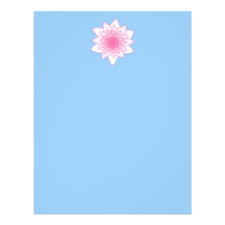 Water Lily. Pretty Pink and Pale Blue. Letterhead Design