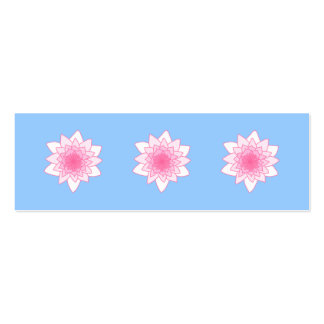 Water Lily. Pretty Pink and Pale Blue. Mini Business Card