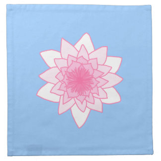 Water Lily. Pretty Pink and Pale Blue. Cloth Napkin