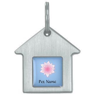 Water Lily. Pretty Pink and Pale Blue. Pet Name Tag