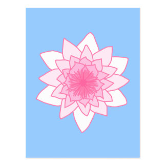 Water Lily. Pretty Pink and Pale Blue. Postcard