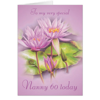 Water lily purple floral Nanny 60 birthday card