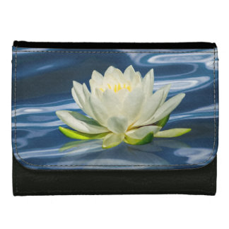 Water Lily Reflected on Blue Leather Wallet For Women