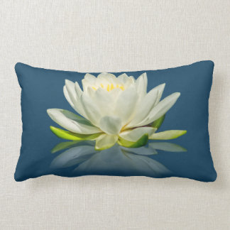 Water Lily Reflected on Blue  Pillow