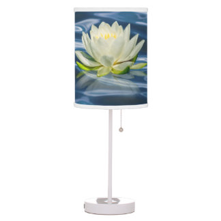Water Lily Reflected on Blue Water Desk Lamp