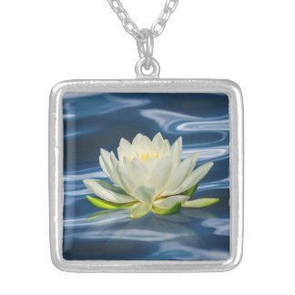 Water Lily Reflected on Blue Water Necklace