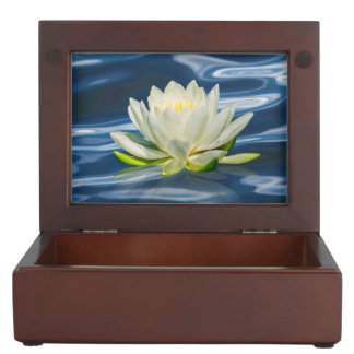 Water Lily Reflected on Blue Water Keepsake Boxes