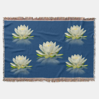 Water Lily Reflected on Blue Water Throw Blanket