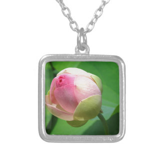 water-lily silver plated necklace