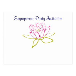 Water Lily Simple Elegant Engagement Party Postcard