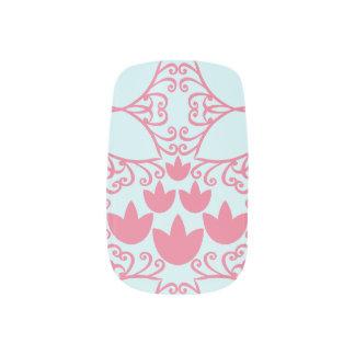 Water Lily Swirl Pink and Aqua Blue Nail Art
