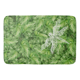 water-lily watercolor bath mat
