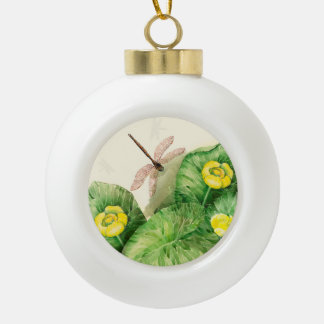 water-lily watercolor ceramic ball christmas ornament