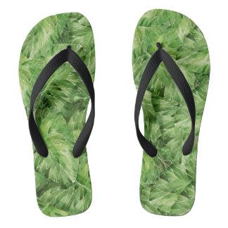 water-lily watercolor flip flops