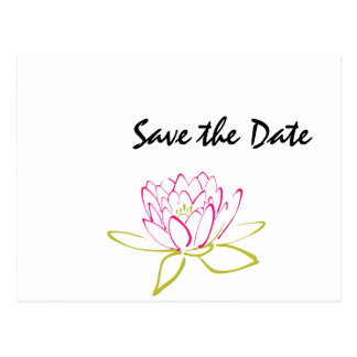 Water Lily Wedding Day Theme Save the Date Postcard