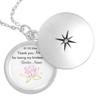 Water Lily Wedding Souvenirs Keepsakes Giveaways Locket Necklace