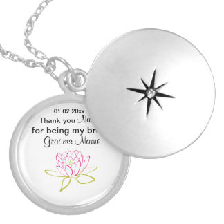 Water Lily Wedding Souvenirs Keepsakes Giveaways Silver Plated Necklace